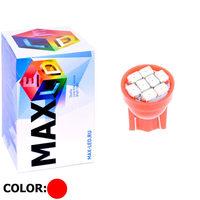 Cветодиодная лампа W5W T10 – Max-2820 8 Led 0.4Вт Красная