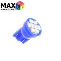 Cветодиодная лампа W5W T10 – Max-2820 8 Led 0.4Вт Синяя
