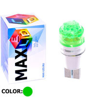 Cветодиодная лампа W5W T10 – Max-Cristal 1 Led 3Вт Зелёная